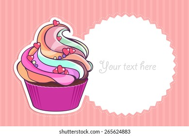 Cupcake on pink background in vertical strip. Sweet summer. Vector. Retro style. Can be used for greeting cards,  invitations for wedding, birthday and party or menu and logo. Can write your text.