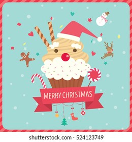 Cupcake santa claus decorated with ribbon and ornaments for Christmas card.