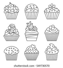 Cupcake set. Line style. Vector illustration.