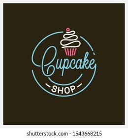 Cupcake shop logo. Round linear logo of cake store on black background