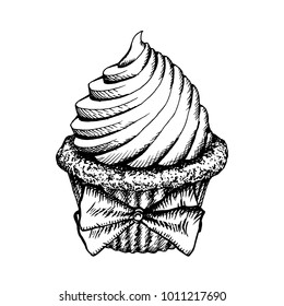 Cupcake Sketch Icon Isolated On White Background. Vintage Cup Cake Decorated With Bow. Hand Drawn Dessert Vector Illustration. Cute Muffins With Cream Engraving Bakery.