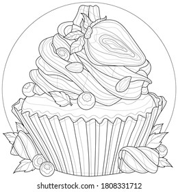 Cupcake with strawberries, blueberries, marshmallows and almonds.Tasty dessert.Coloring book antistress for children and adults. Outline style. Black and white drawing