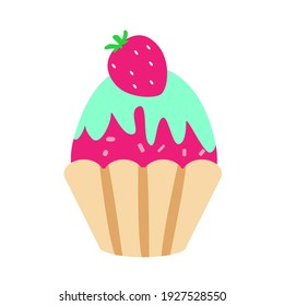 Cupcake with strawberries on top in cartoon flat style isolated on white background.