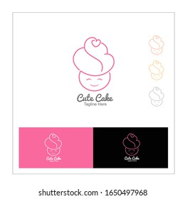CupCake Sweet Bakery Logo Template. Cute cake girl.