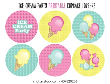 Cupcake toppers. Ice cream party
