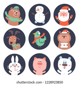 Cupcake toppers or stikcers with funny elements: bear, snowman, santa, dear, bird, hamster, rabbit, pig, polar bear. Can be used for baby shower, birthday party, Chrisrmas an New Year
