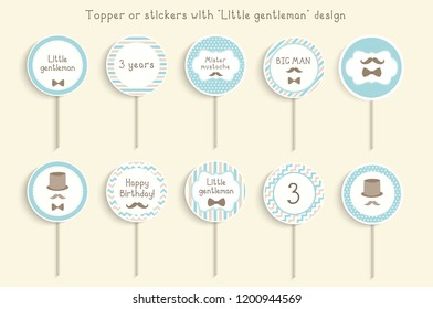 "Cupcake toppers or stikcers with ""little gentleman"" design. Can be used for baby shower, birhday party"