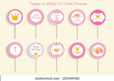 "Cupcake toppers or stikcers with ""little princess"" design. Can be used for baby shower, birhday party"