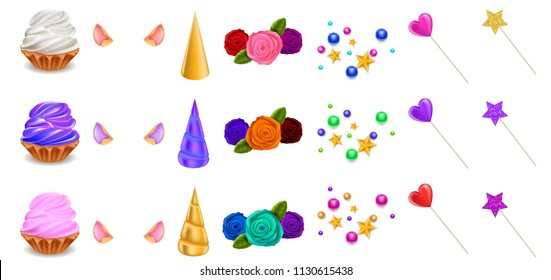 Cupcake Unicorn Constructor, Ears, Horns, Multicolor Roses, Confectionery, Hearts and Stars, Isolated on White Background, Hand Drawn Realistic Vector 3D Illustration