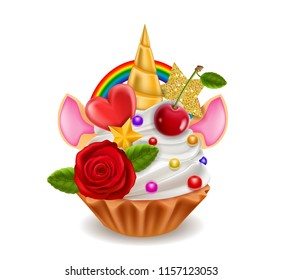 Cupcake Unicorn Horn, Rainbow, Ears, Flowers, Cherry with Leaf, Stars, Isolated on White Background, Hand Drawn Vector Realistic 3D Illustration