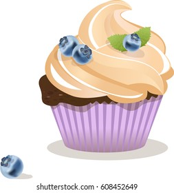 Cupcake vector, Isolated on white background