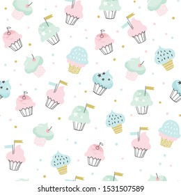 Cupcake vector pattern with confetti sprinkles. Hand drawn cute cupcakes seamless background for party, birthday, greeting cards, gift wrap.