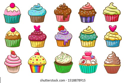 cupcake vector set clipart design