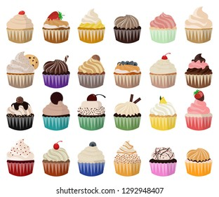 Cupcake vector set. Icon in flat style. Sweet and cute cupcake illustrations for decoration and filling. 24 different cupcake varieties on white background.