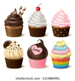 Cupcake vector set on white background