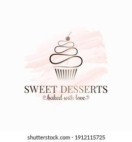 cupcake watercolor logo design on white background