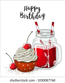 Cupcake with white cream and cherry and glass jar with red beverage and straw on white background, vector illustration, eps 10 with transparency