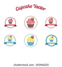 Cupcake yummy pink retro bakery logo badges and labels / Vintage retro cupcake logo / Cupcake set vector