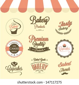 Cupcakes  and bakery labels set