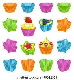 Cupcakes and colorful baking cups