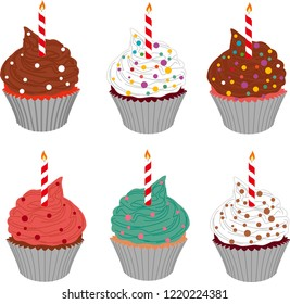 Cupcakes. EPS 10 format Vector drawings. icon, fabric, textile, texture, decor, sticker, wall paper, gift paper,