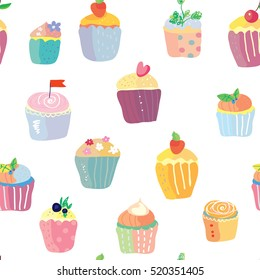 Cupcakes with fruits funny seamless pattern - vector graphic illustration