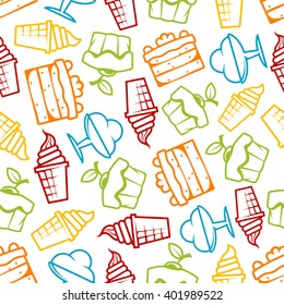 Cupcakes and ice cream seamless pattern of muffins topped with cherry, chocolate tiered cakes with cream, ice cream cones and sundae desserts over white background. Pastry, bakery and dessert theme