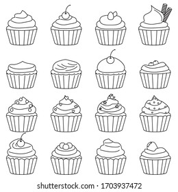 cupcakes icon set outline. Line style. Vector illustration.