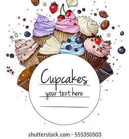 Cupcakes line drawn on a white background. Colorful pastries with cream. Vector sketch