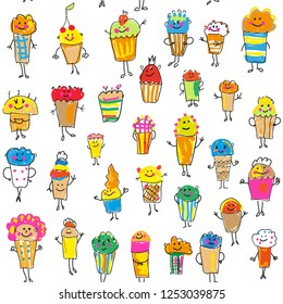 Cupcakes and muffins seamless pattern for the party, funny design. Vector graphic illustration