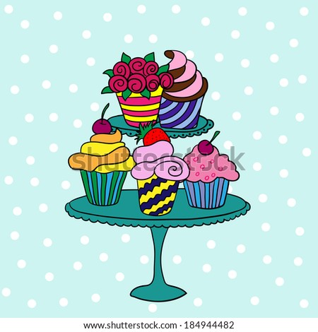 Cupcakes On Stand Stock Vector Royalty Free 184944482 Shutterstock