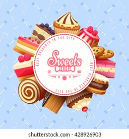 Cupcakes pastry and sweets flat round composition best city patisserie bakery advertisement background poster abstract vector illustration