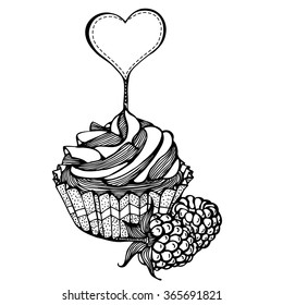 cupcakes with raspberries monochrome drawing