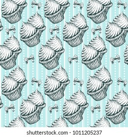 Cupcakes Seamless Pattern. Vintage Sketches Vector Illustration. Hand Drawn Cup Cakes On Blue Doodle Background. Cute Candy Cakes Or Muffins With Cream Bakery Decoration