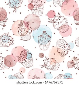 Cupcakes seamless pattern with watercolor circles on white background. Sweets background design. Hand drawn doodle illustration with pastry.