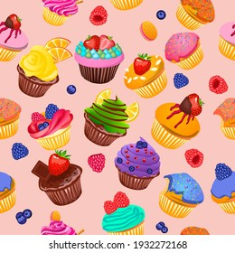 Cupcakes seamless pattern. Wrapping. Festive muffins with chocolate,fruits and berries.