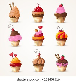 cupcakes set eps10 vector illustration