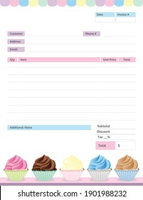Cupcakes Themed Invoice for a Bakery