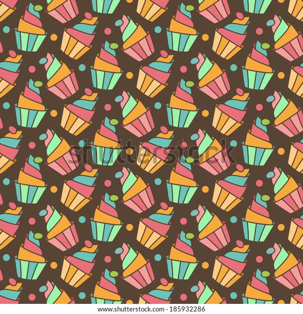 Cupcakes vector seamless pattern. Sweet holiday food background.