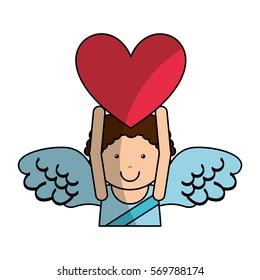 cupid angel character icon vector illustration design