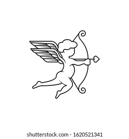 Cupid angel icon logo vector illustration template. Cupid silhouette vector illustration for valentine day, wedding, greeting card. Cupid vector illustration isolated on white background.
