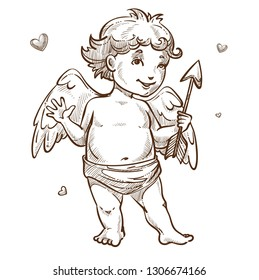 Cupid angel with wings and arrow Valentines day isolated sketch character boy in diapers love and affection symbol hearts mythical flying creature with weapon holiday spirit matchmaker heaven baby.