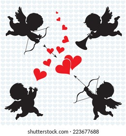 Cupid angels. Silhouette of Cupids. Valentines day.