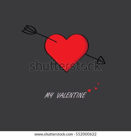 Cupid Arrow Stab Middle Red Heart Stock Vector Royalty Free