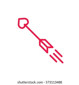 cupid arrow thin line red icon on white background, happy valentine day