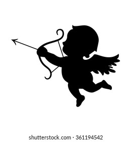 Cupid black silhouette. Valentines day symbol. Vector cupid arrow. Vintage cupid illustration EPS10