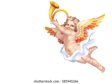 Cupid Blowing a post horn on a white background