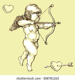 Cupid with bow, arrow and heart, sepia color,  vintage vector design element for saint Valentine�´s day