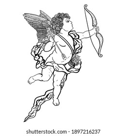 Cupid with bow and arrow, outline drawing of black color isolated on white background, stock vector illustration for design and decoration, coloring book, template, sticker, banner, poster, vintage