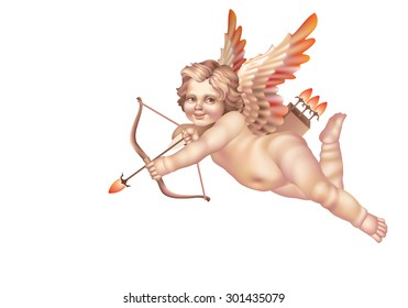 Cupid with a bow right on a white background
